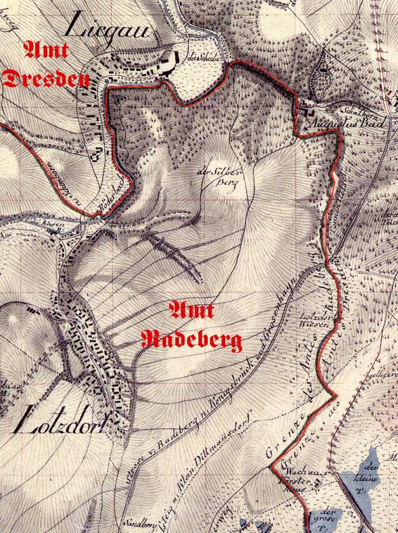 """Das """"Rückzugsgebiet"""" Stephans 1838 in das z.T. steilwandige Hügelland zwischen Rödertal und  Silberberg sowie dem """"Radeberger Bad"""" (Südseite Tannengrund, oben rechts) und Lotzdorf, beides gehörte zum Amt Radeberg."""