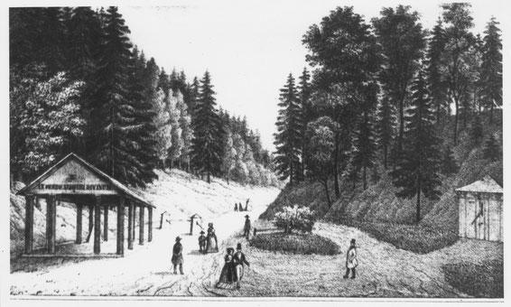 """Die ersten Mineral-Quellen im Radeberger Bad (Tannengrund):  Rechts die bereits überbaute """"Stolln-Quelle"""" (Nr. 1, auch """"Stahlquelle"""" genannt), links  überdacht die """"Salzquelle"""" (Nr. 2)"""