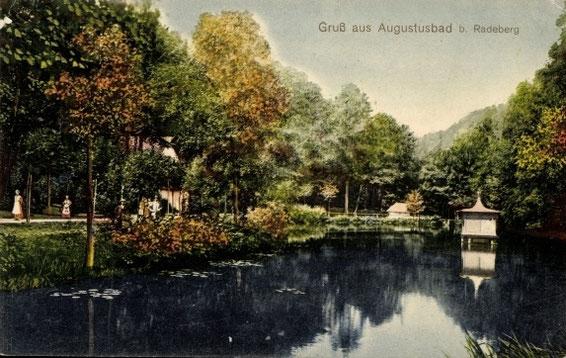 """Der """"Schwanenteich""""  im Tannengrund, talwärts gesehen;  links halb verdeckt: die """"Eremitage"""""""