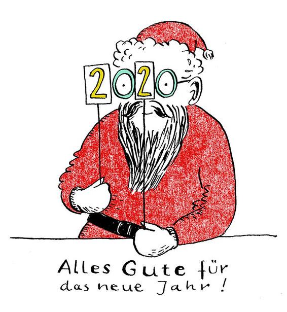 Heike Herold, Weihnachten, 2020, Neues Jahr, Frohes neues Jahr, Weihnachtsmann, Sylvester, Weihnachtsgrüße, Illustration, Grafik, Federzeichnung