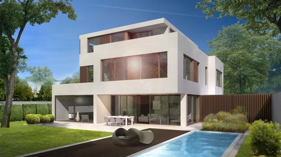 Entwurf für eine Villa mit Pool in München
