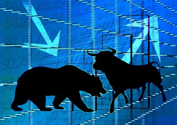 Bulle und Bär als Zeichen für die Börse
