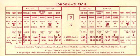 Swissair timetable for flights between London & Zurich 1952