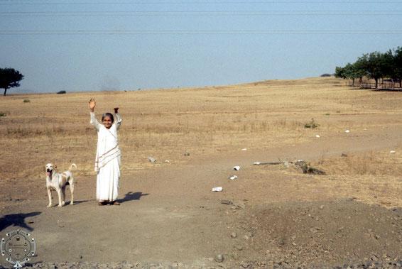 Mansari and her dog at Meherabad, India