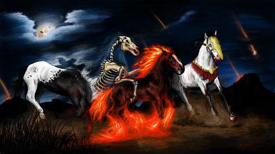 Le dragon représentant Satan et le 2ème cheval de l'Apocalypse représentant la guerre sont flamboyants de couleur rouge-feu, la couleur du sang, de la violence, du feu, de la destruction et de la guerre.