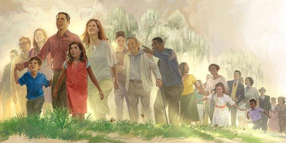 Des gens issus de toutes les nations ont marché à la lumière de la nouvelle Jérusalem. De nombreux peuples ont afflué vers Sion, la montagne sainte, symbole du vrai culte et d'allégeance au Royaume messianique.