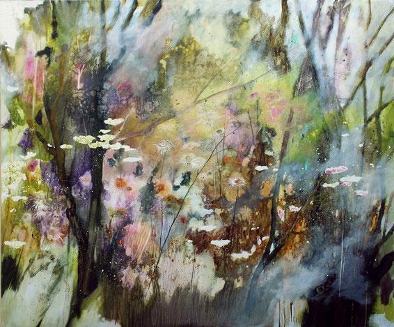 Zampilli nel laghetto olio su tela cm 80 x 80 anno 2017
