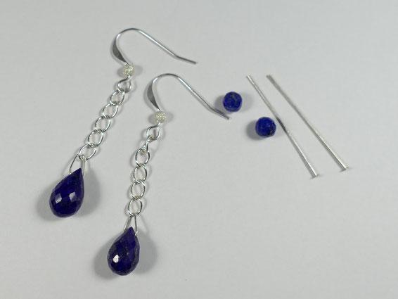Matériel du modèle complémentaire des boucles d'oreilles avec lapis lazuli d'Afghanistan