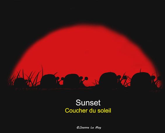 """Image de coucher du soleil pour apprendre le mot anglais """"sunset""""."""
