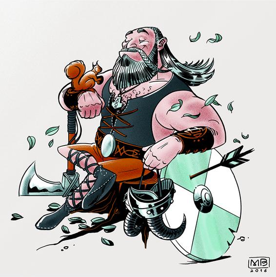 Characterdesign eines friedlichen Wikingers