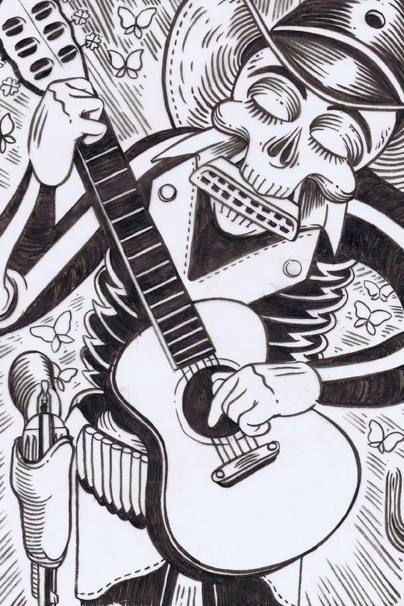 Zeichnung von Skellet mit Gitarre