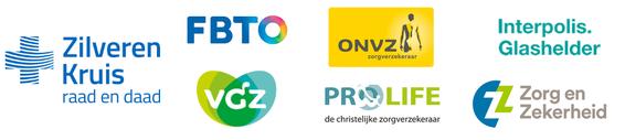 Logo's van zorgverzekeraars die de Somnio slaaptherapie vergoeden: Zilveren Kruis, FBTO, VGZ, ONVZ, Prolife, Interpolis, Zorg en Zekerheid