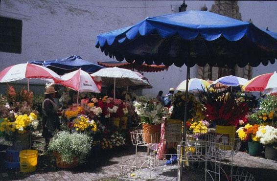Cuenca, Blumenmarkt im Stadtzentrum
