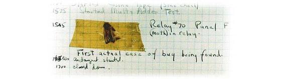 """La famosa libreta de Grace Murray Hopper; con la anotación sobre el """"Bug"""""""