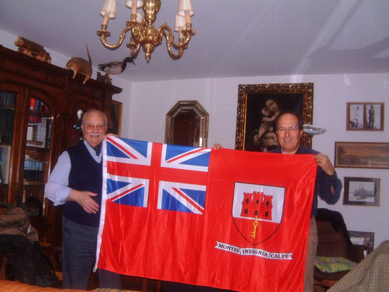 Federico Barbaranelli with his son and FEDERICA's Gibraltar flag