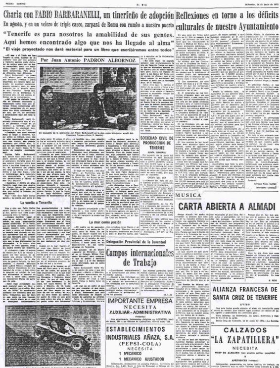"14.06.1972 - THE NEWSPAPER ""EL DIA"" OF SANTA CRUZ DE TENERIFE"