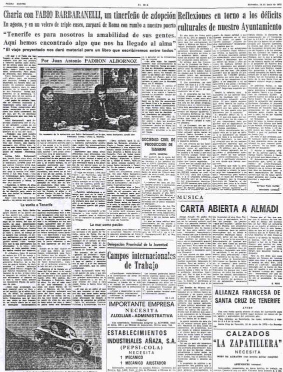 """14.06.1972 - THE NEWSPAPER """"EL DIA"""" OF SANTA CRUZ DE TENERIFE"""