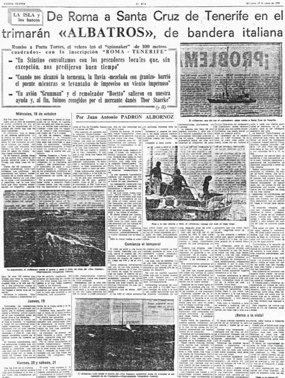 """17.01.1973 - THE NEWSPAPER """"EL DIA"""" OF SANTA CRUZ DE TENERIFE"""