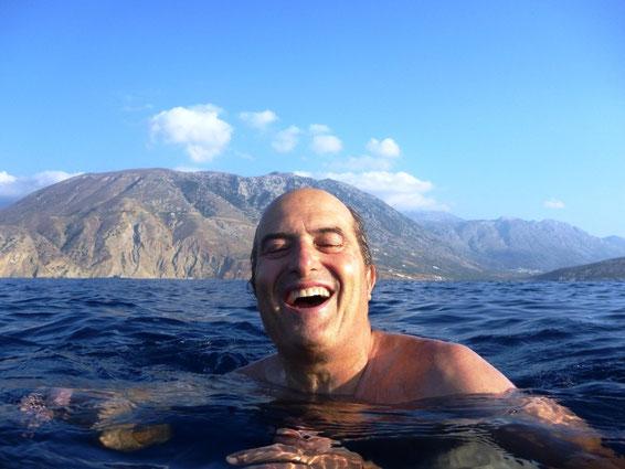 Swimming under  the gulet FEDERICA - Crete 8/2009