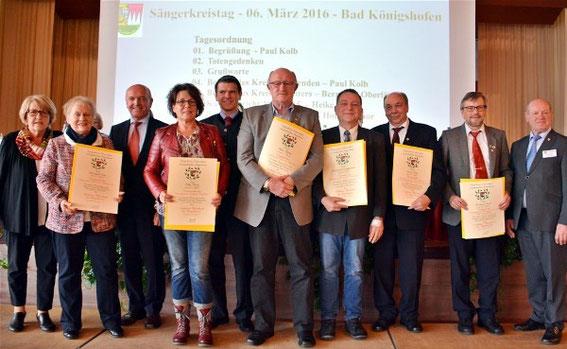 6x Goldener Ehrenkranz - Sängerkreistag 2016 in Bad Königshofen