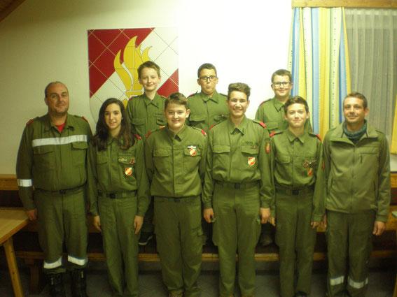 Die Jugend mit Kommandant und Ausbildner