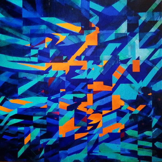 Tecnica mista: collage, olio su tela - cm. 100x100