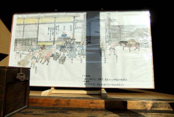 Estampe représentant le Honjin de Tsumago. On y voit le Daimyō entouré de ses serviteurs ainsi que l'entrée du Honjin