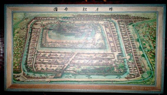 Ancien plan du château de Matsumoto (visible au dernier étage du donjon)