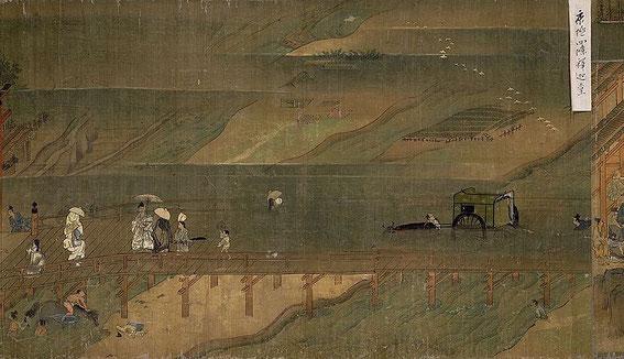 """moine itinérant Ippen (一遍上人絵伝) arrivant à Kyōto par le pont de Shijō (sources : """"La Biographie illustrée du moine itinérant Ippen"""" Rouleau VII, section 2."""