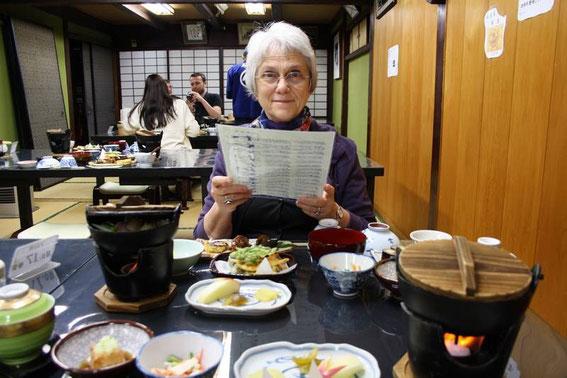 Lecture non du menu mais de la danse et chant de la vallée du Kiso... que nous pratiquerons ce soir autour du foyer !