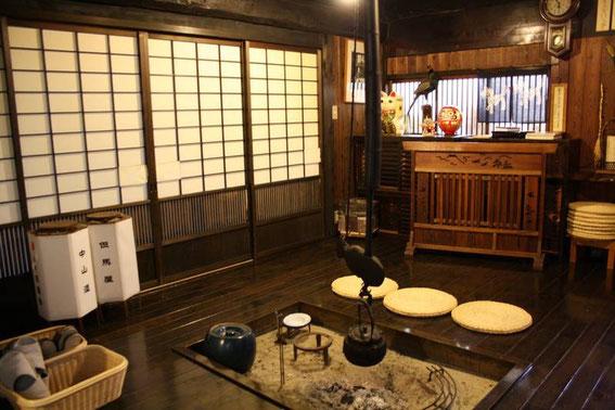 Autour du irori du Tajimaya Minshuku
