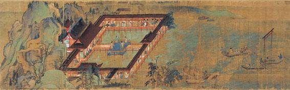 Ippen arrivant au sanctuaire d'Itsukushima-jinja à Miyajima où les jeunes filles de l'île dansent en son honneur au centre ; on distingue à droite le célèbre torii flottant. Rouleau X, section 2.