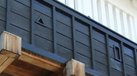 sama (ouverture triangulaire et/ou rectangulaire) teppozama à gauche et yazama à droite