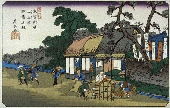une tateba-chaya le long de la route de Kiso (木曾街道 ) sous l'ère Edo 立場茶屋