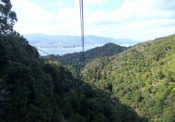 La forêt primaire du Mont Misen. En arrière plan la ville de Miyajimaguchi