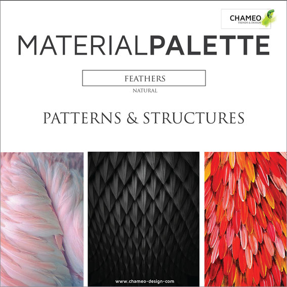 Chameo design Material palette CMF color material design pattern & structures feathers