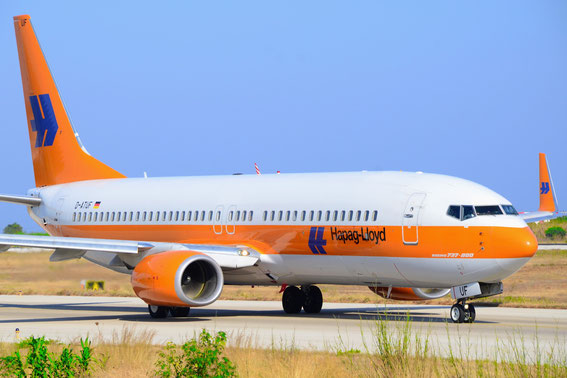 22.07.2014 at Rhodos after landing from HAJ back to BSL, D-ATUF Hapag Lloyd