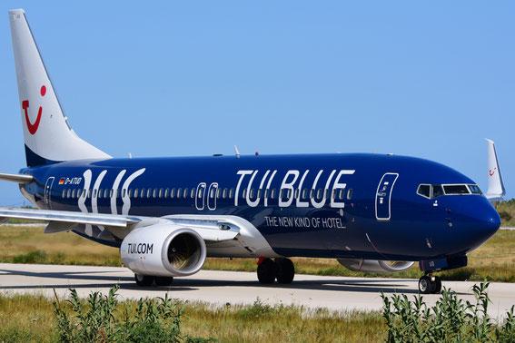 Die TUI BLUE auf dem nach Wien, 26.05.2016 at Rhodos 09:15 h vor dem Takeoff