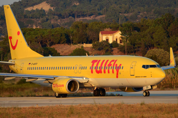 22.07.2014 at Rhodos. Take off to DUS, D-AHFP, Tuifly stand. colours. Left fleet in 2015