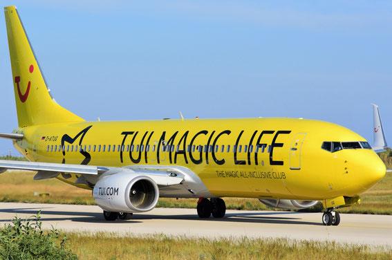 """Und da strahlt die neue D-ATUG """"Club Magic"""" am frühen Morgen auf dem Weg nach Stuttgart; 08:15 h Rhodos Airport, 19.05.16 RHO-STR"""