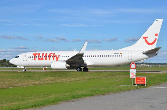 Fox Sierra in all white leaving Hamburg to Kos Island; D-AHFS former HLX Plane