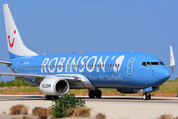 Am 03.09.16 kam auch die D-ATUI mit ihrer Robinson Lackierung hereingerollt, 09:48 h aus Basel vor Plan