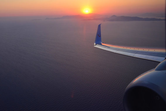 Am 22.07.2015 im abendlichen Landeanflug von München nach Rhodos, D-ATUP at 20:20 h local time. Sea temperatures at 26 degrees.