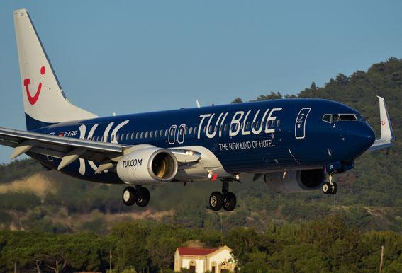 Und der dritte Logo-Jet am 07.06.16 im Anflug auf Rhodos: D-ATUD von DUS 19:15 h