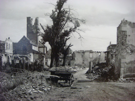 Sigolsheim Rue Principale with a tank roadblock in front a few months after the Battle.(Photo courtesy Aimé Haubtmann and Société d'Histoire de Sigolsheim)