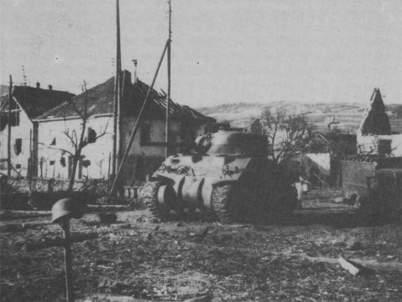 "Sigolsheim Route des Vin after the Battle - M4 Sherman ""Fort de France"" commanded by L'Aspirant Camille Girard of 1er R.C.A. 2éme Escadron, 1er Peloton, 5ème D.B,  knocked out Dec. 19, 1944 by Walter Laich at 17.22 with a Panzerfaust."