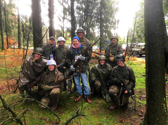 A group of Easy Re-Enactors in the Bois Jacques having fun with Shane and Matthew