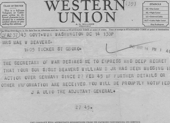 Bill Beaver's Western Union Telegram that he got MIA