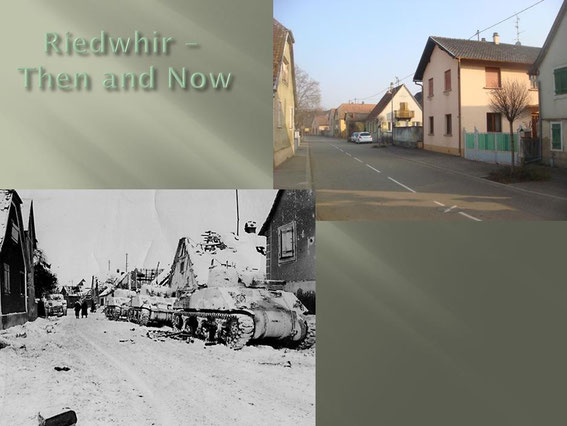 Sherman tanks line a battered street in Riedwihr during the battle in the Colmar Pocket (photo courtesy www.dogfacesoldiers.org)