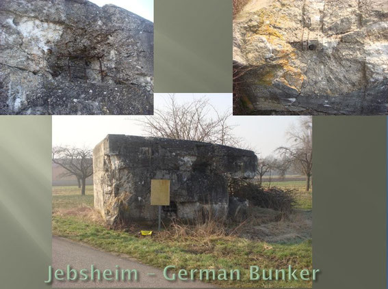 Close-up of damage done by the brave tank destroyer crew with 90 mm shells. This was the bunker that was used to pin down D/254th during the attack on Jebsheim.